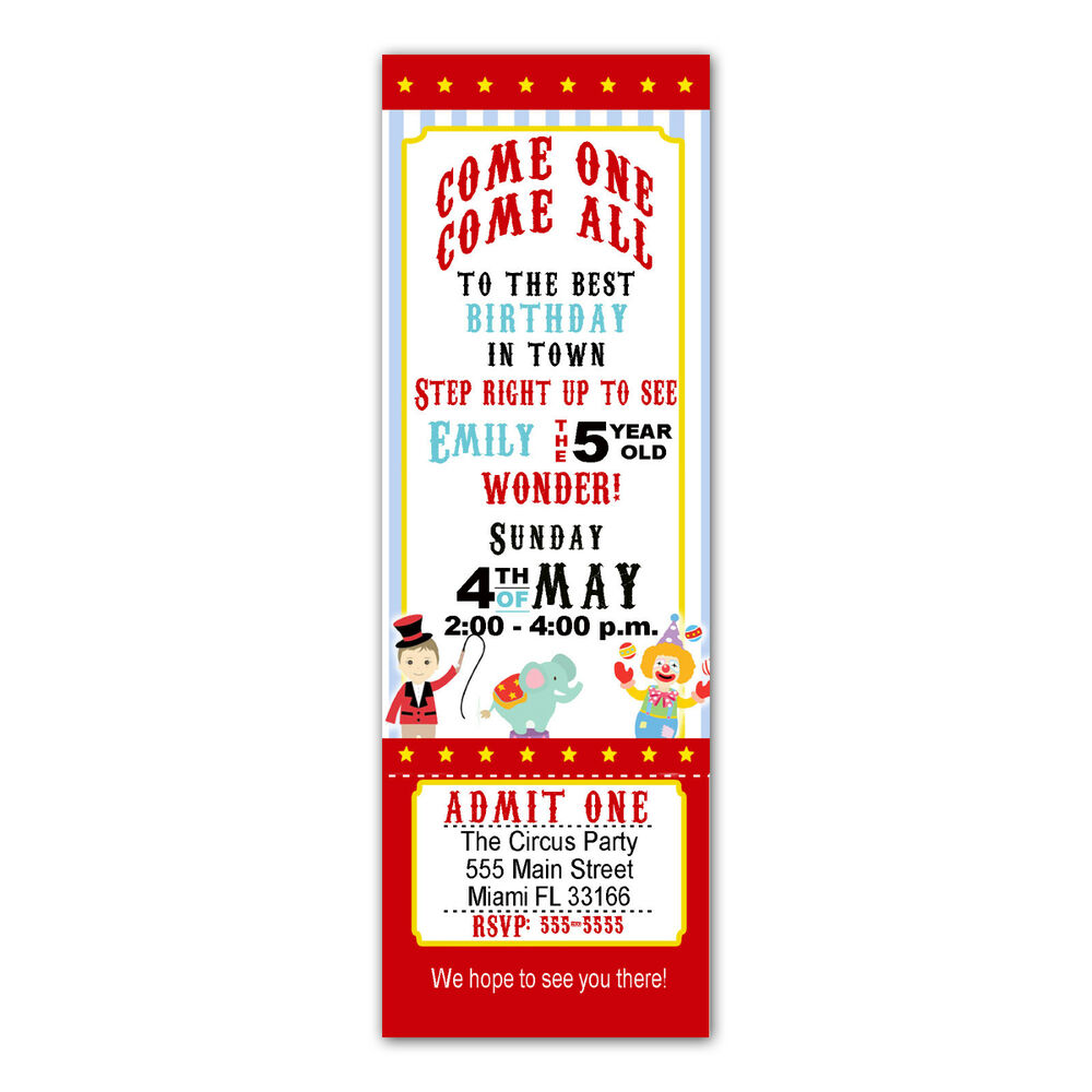 30 Ticket Invitations Circus Carnival Kids Birthday Party ...