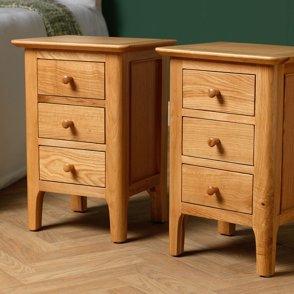 Retro Style Container Bedside Table: Matching Pair Bergen Light Oak Bedside Tables