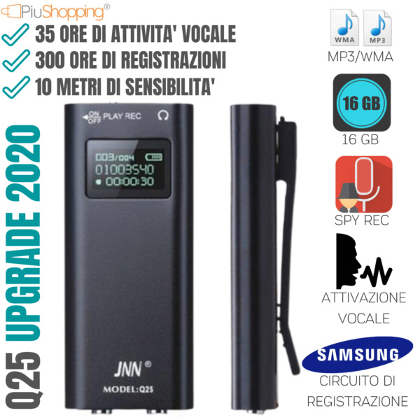 MICRO REGISTRATORE AUDIO ATTIVAZIONE VOCALE 16 GB SPY MINI SPIA AMBIENTALE USB