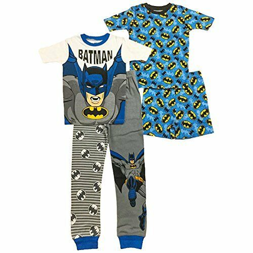 6850d8281515 Boy s Size 4 Batman Costume and Logo Print 4-Piece Cotton Pajama Set ...