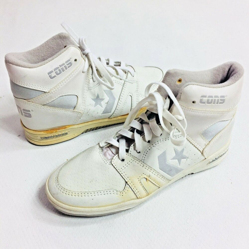 46725285963 Details about VINTAGE CONVERSE SHOES MENS SIZE 5 CONS HI TOPS BASKETBALL  WHITE DEAD STOCK