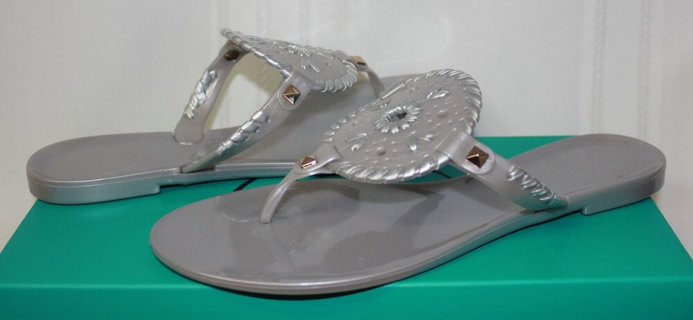 ac1b22612b7a Details about Jack Rogers Women s Georgica Jelly Silver Sandals New With  Box!