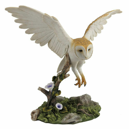 10 5 Barn Owl Flying Over Branch Home Decor Figure Sculpture Statue