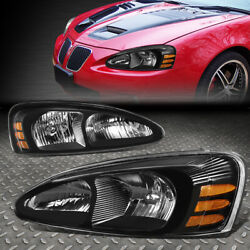 Kyпить FOR 04-08 PONTIAC GRAND PRIX BLACK HOUSING AMBER CORNER HEADLIGHT HEAD LAMPS на еВаy.соm