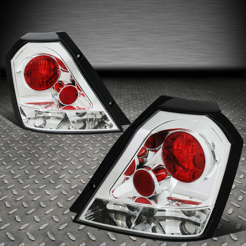 Details About For 04 08 Chevy Aveo 5 Hatchback Chrome Housing Tail Light Brake Parking Lamps