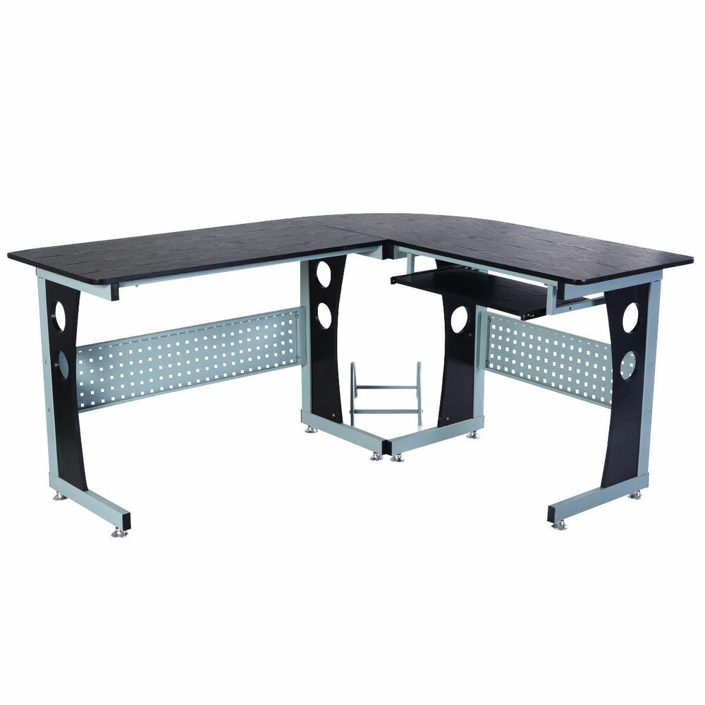 Details About Wood Metal Corner Computer Office Desk Table Slide Pull Out Keyboard Tray Black