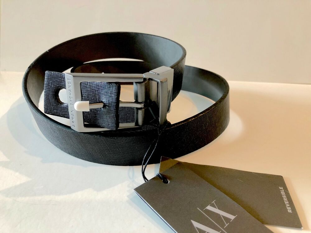 Armani Exchange Reversible Metal Leather Belt Men AX Logo Brand New | eBay