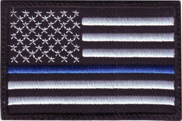 Thin Blue Line USA Flag Embroidered Patch