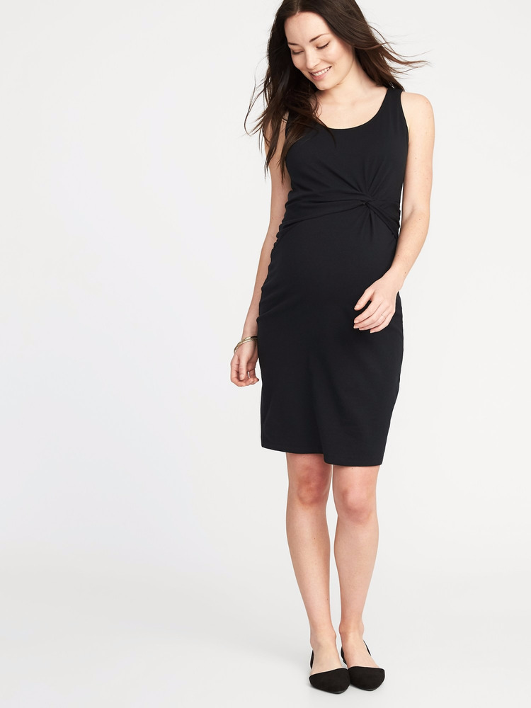 1a7ea05dd4 Details about Old Navy Twist Front Bodycon Black Maternity Dress-XL-NWT