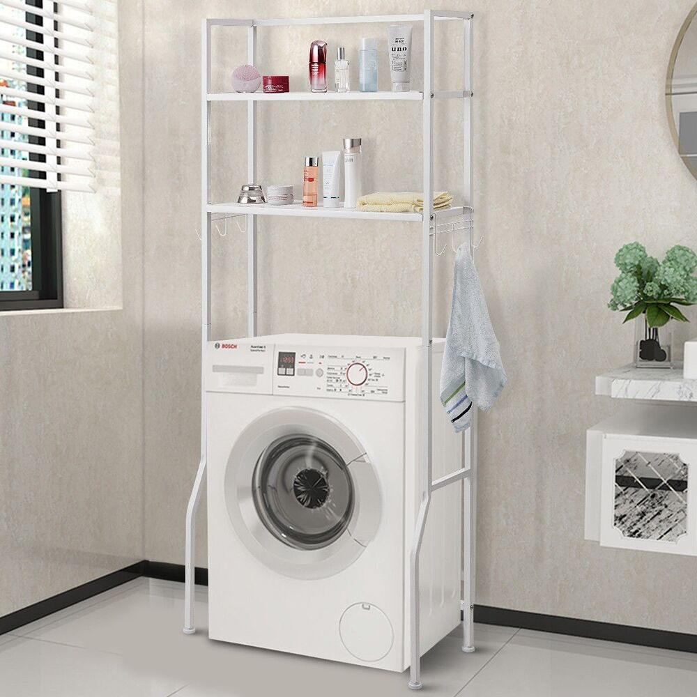 2 Tire Over The Toilet Storage Rack Towel Shelf For