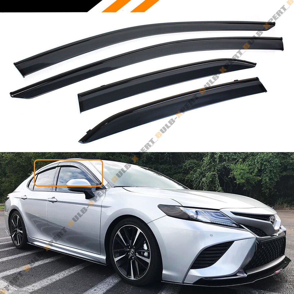 FOR 2018-2019 TOYOTA CAMRY CLIP-ON BLACK TRIM WINDOW VISOR