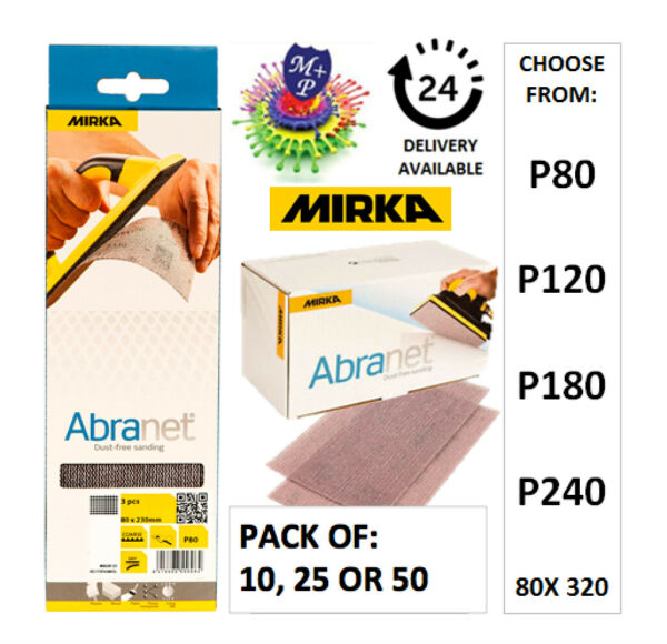 Mirka Abranet Strips 80x230mm (CHOICE OF P80, P120, P180, P240) PACK OF 10 or 50