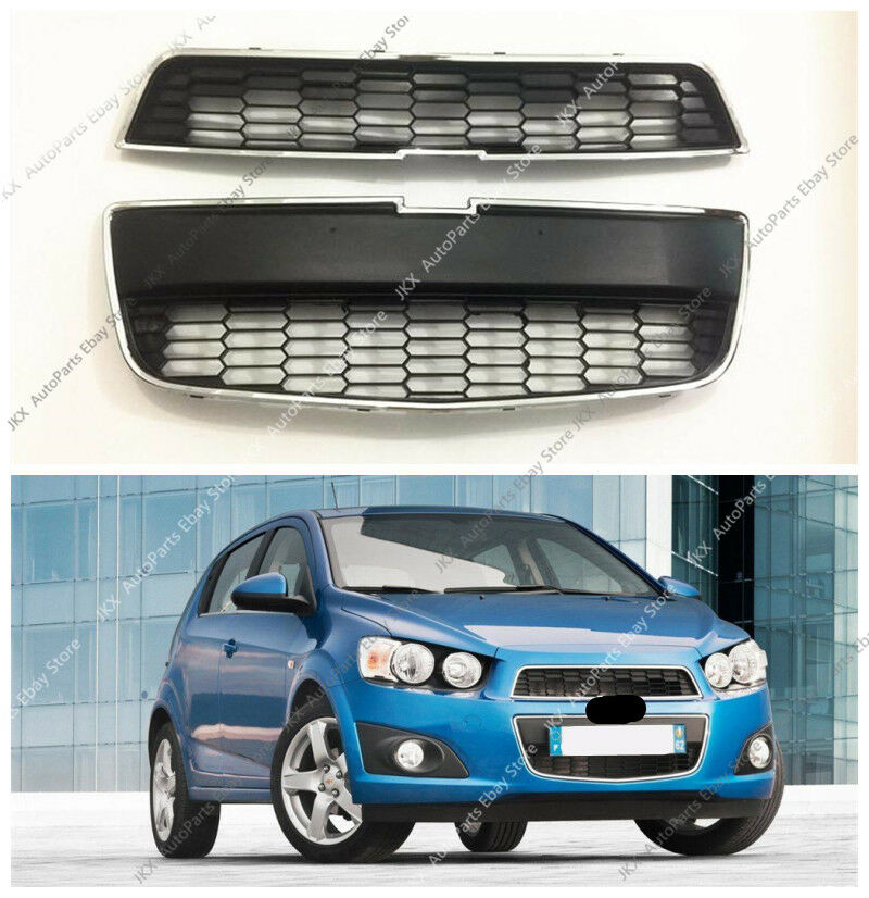 2pcs Chrome Front Bumper Upperlower Grille Grill For Chevrolet Aveo