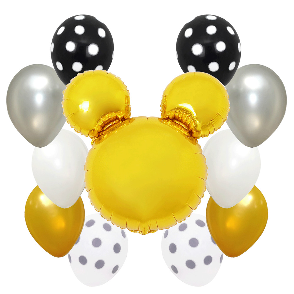 Gold Polka Dots Baby Shower Birthday Party Mickey Mouse Foil Balloon