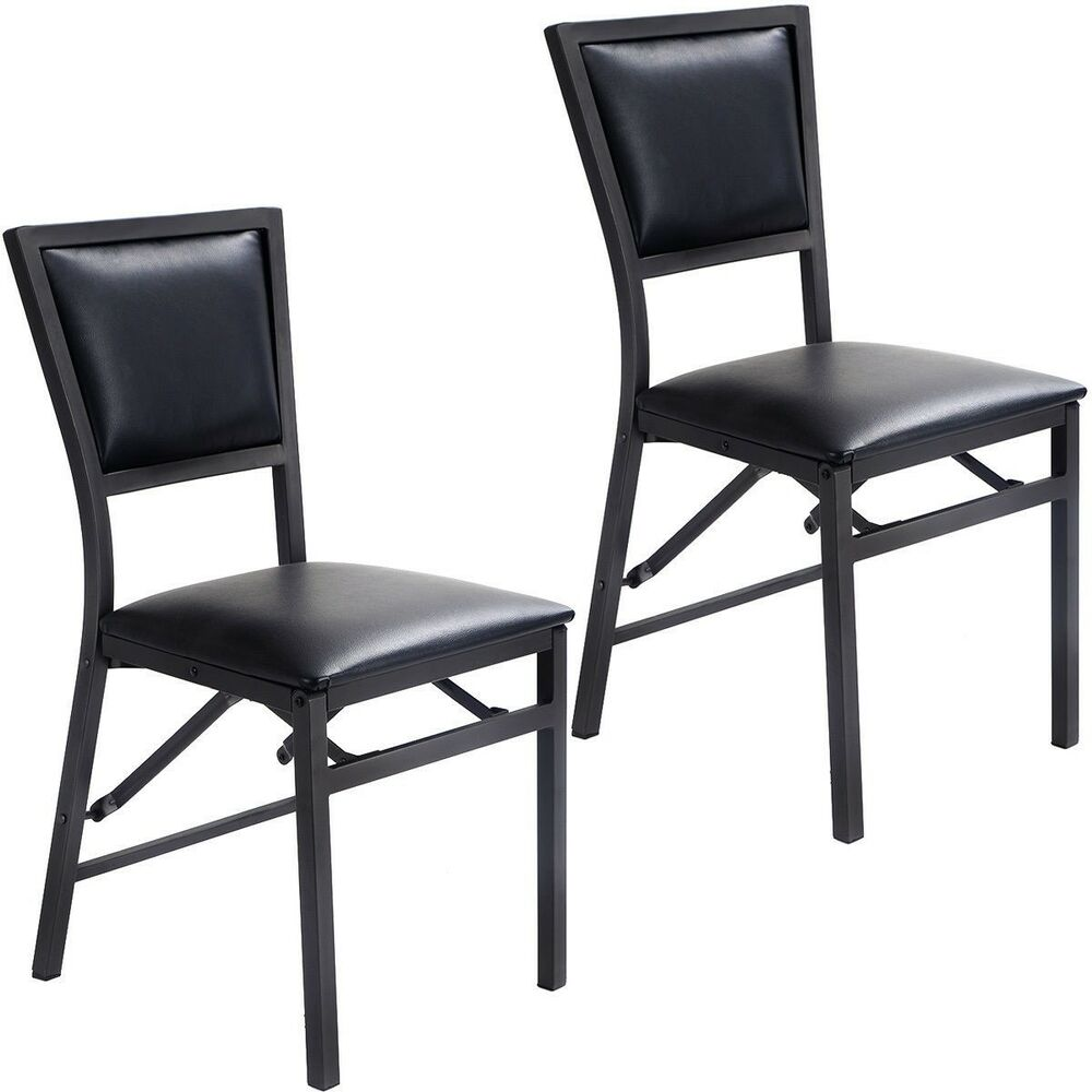 Details About Set Of 2 Metal Folding Chair Dining Chairs Padded Seat Kitchen Home Furniture Us