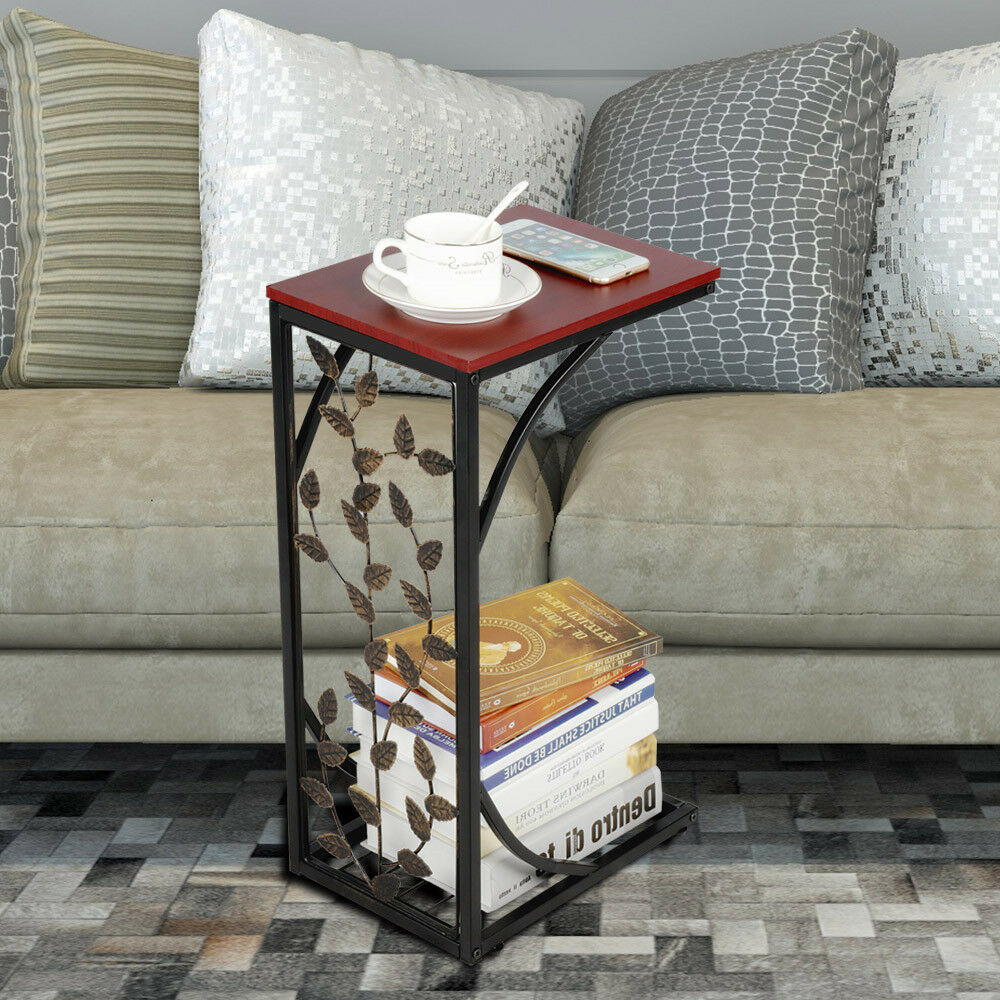 C Small Sofa Couch Chair Side End Table Snack Accent Table Storage