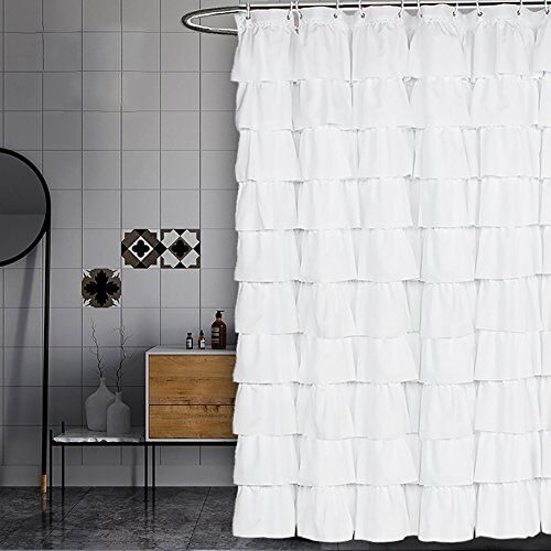 Details About Volens White Shower Curtain Fabric Ruffle For Bathroom72in Long