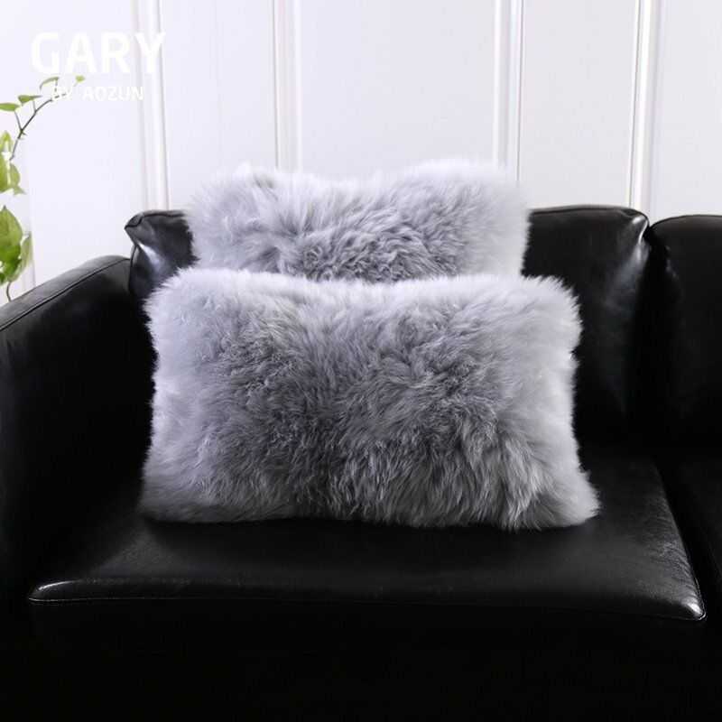 Single Sided Gray Australia Sheepskin Pillow Sofa Cushion