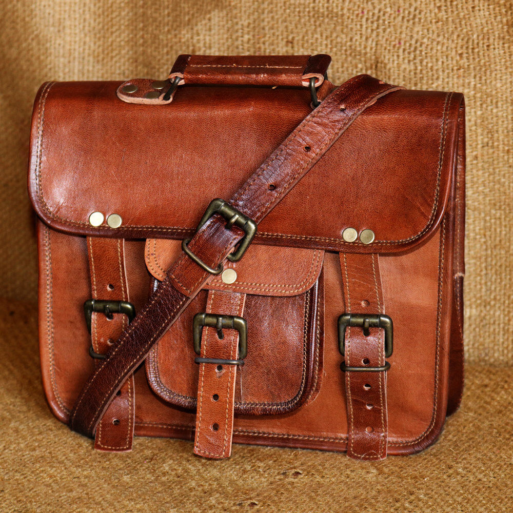 Men/'s Genuine Leather Vintage Laptop Messenger Handmade Bag Satchel Bag