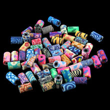 100x Colorful Flower Print Cylinder Tube Polymer Clay Loose Beads Fit Bracelet