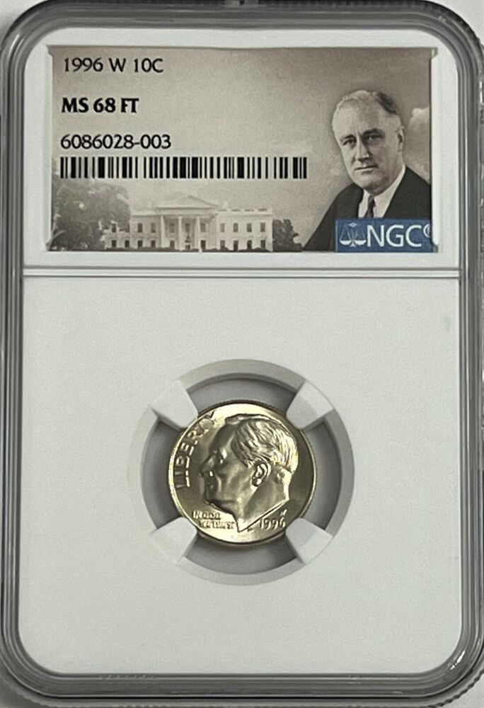 1996 W ROOSEVELT DIME NGC MS68  # 21 OF 100 GREATEST US MODERN COINS