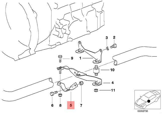 Genuine Bmw Exhaust Suspension Support Shackle Kit E36e46z3