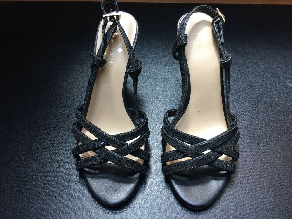 418573fdd857 Details about 6.5M Kate Spade New York Black Sparkle Open Toe Sandal 4