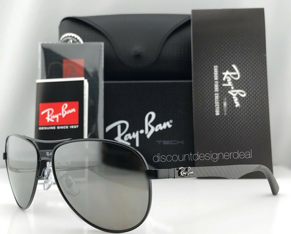 91a6877afe4 Ray-Ban Aviator Carbon Polarized Sunglasses RB8313 002 K7 Black Gray Mirror  61mm