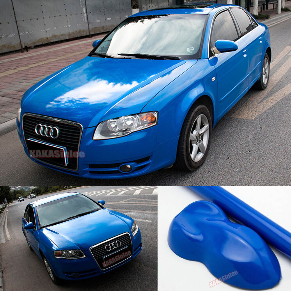 Details about high glossy d blue car paint change bright vinyl wrap film sticker air free ab