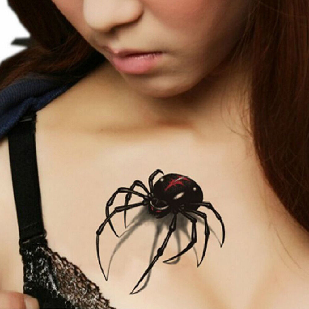 5pcs Waterproof Black 3D Spider Fake Realistic Temporary Body ...