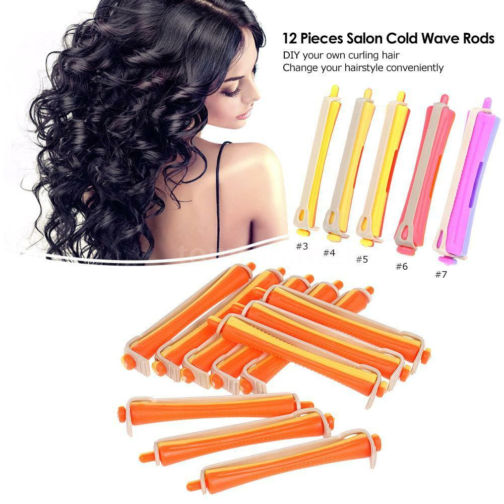 Lot 12 Salon Cold Wave Rods Rubber Band Hair Roller Curling Wavy Curl Perms D2m5 Ebay