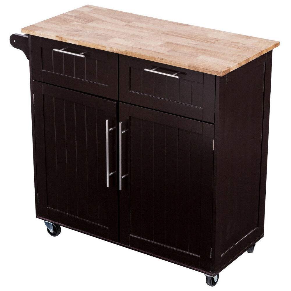 Portable Wood Rolling Kitchen Island Cabinet Utility ...