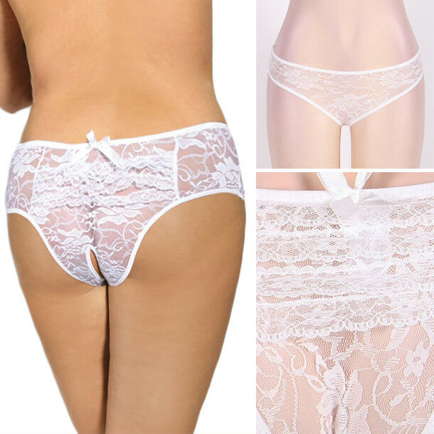 6a62f8beeff Details about Womens Sheer White Lace Rose Ruffled Crotchless Lingerie  Underwear Panties M-6XL