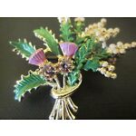 EXQUISITE THISTLE AND HEATHER ENAMEL BROOCH