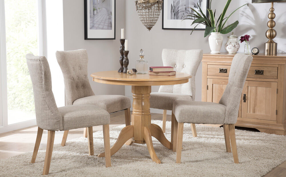 5 Piece 4 Chairs Dining Table Set Round Glass high Back ...