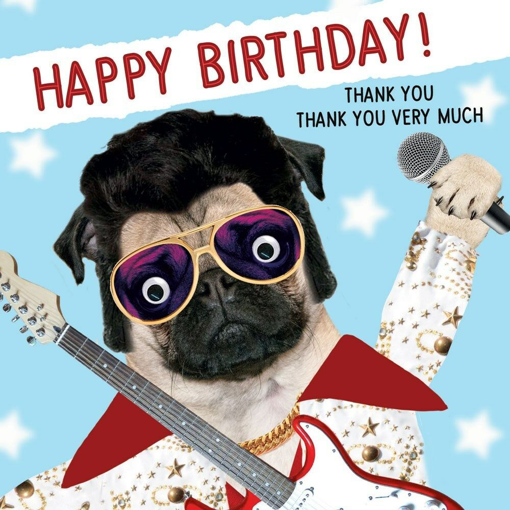 Verpakkingen Cadeaupakketten Cadeaupapier Pug Elvis Funny Gogglies 3D Moving Googly Eyes Birthday Greeting Card Dog Lovers