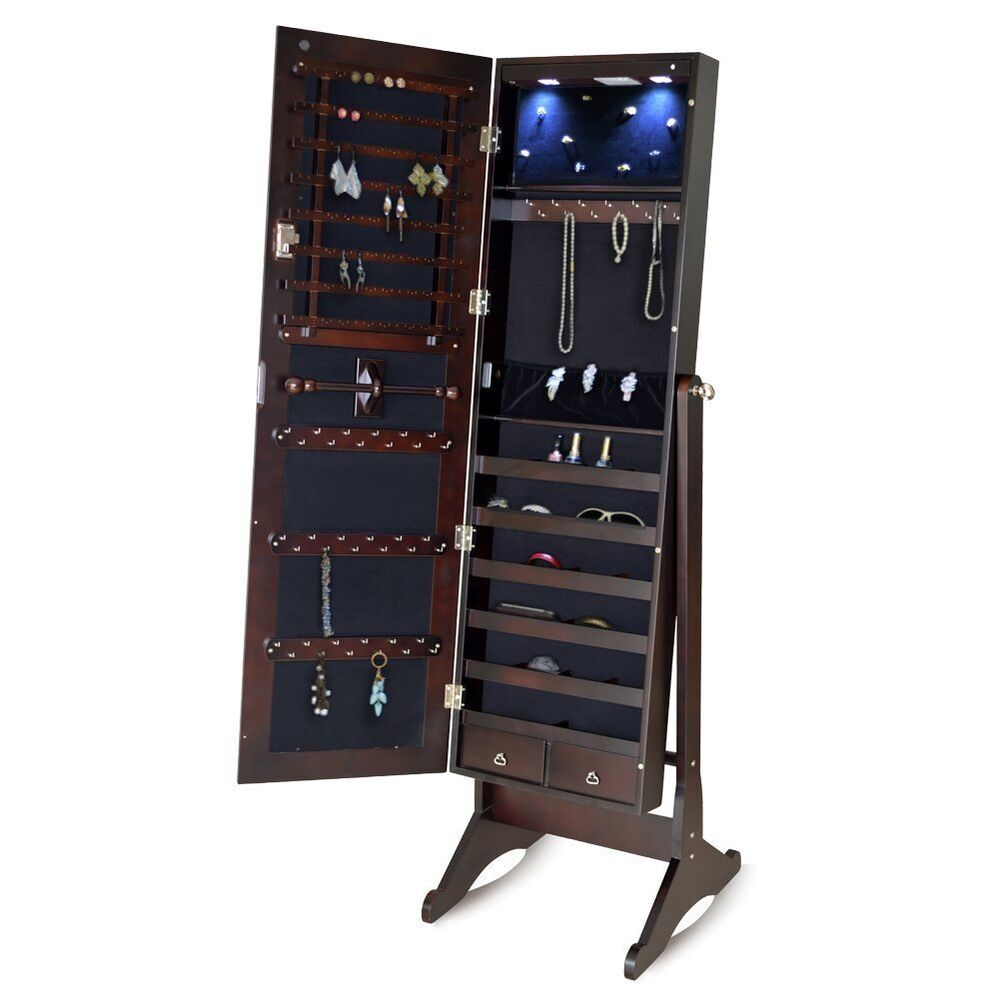 Wooden standing mirrored lockable Jewelry cabinet armoire ...