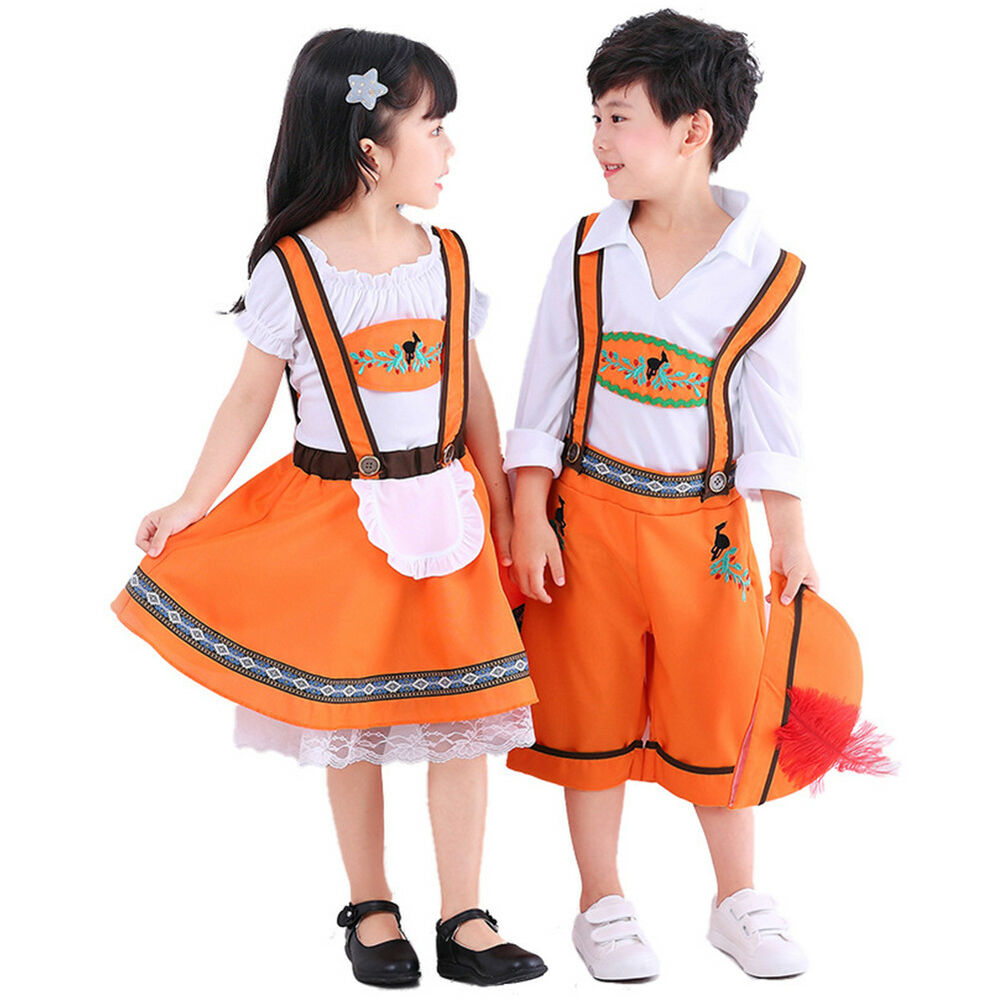 91a6a66a1 Details about Kids Beer Girl Boy Oktoberfest Costume Bavarian Uniform  Dirndl Fancy Dress Up