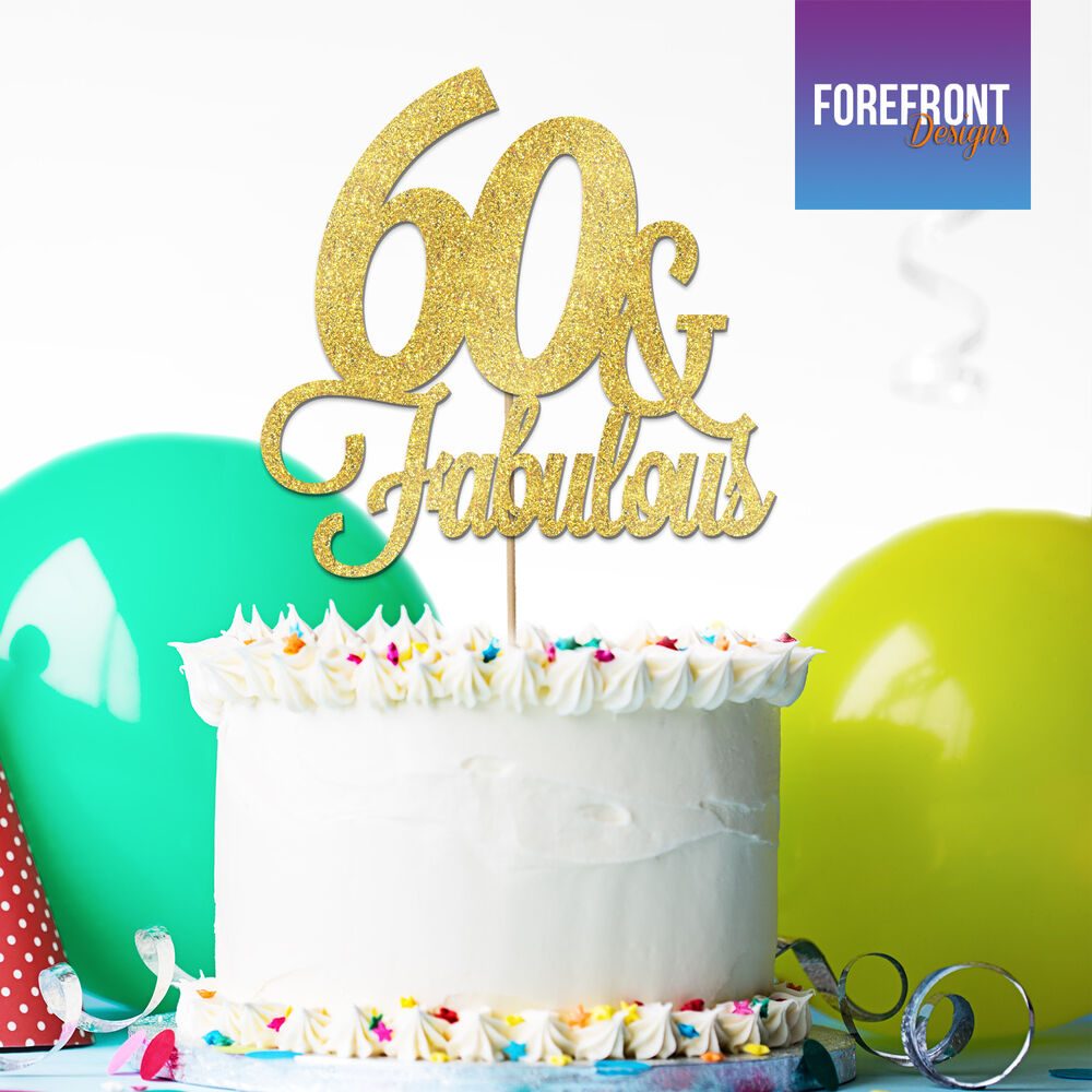 Details About Personalised 60TH BIRTHDAY Glitter Cake Topper Anniversary ANY AGE WORDING