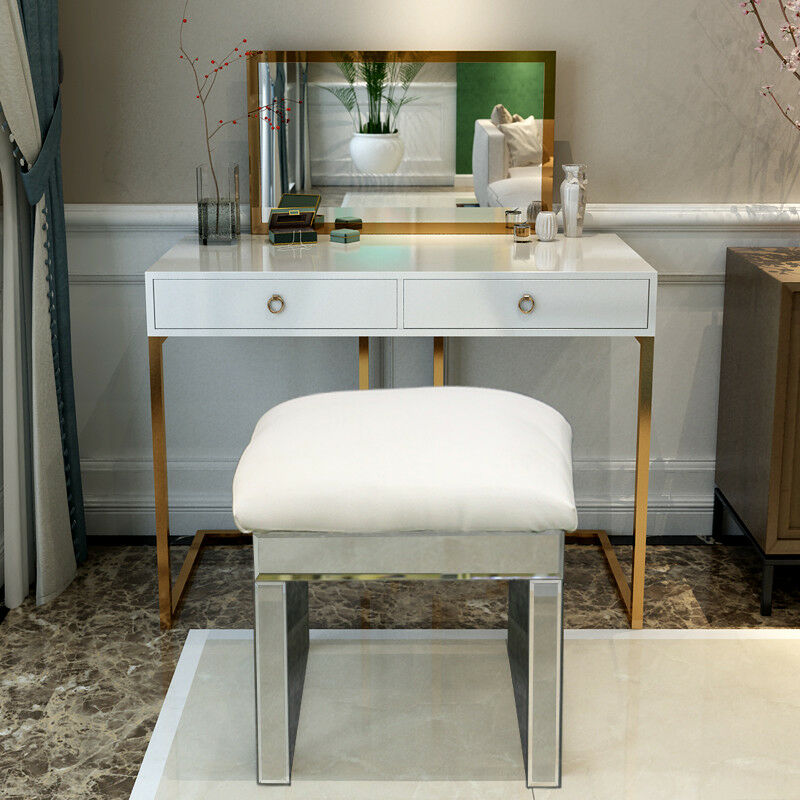 Details About Silver Dressing Table Chair Stool Mirror Faux Leather Padded Makeup Seat Bedroom
