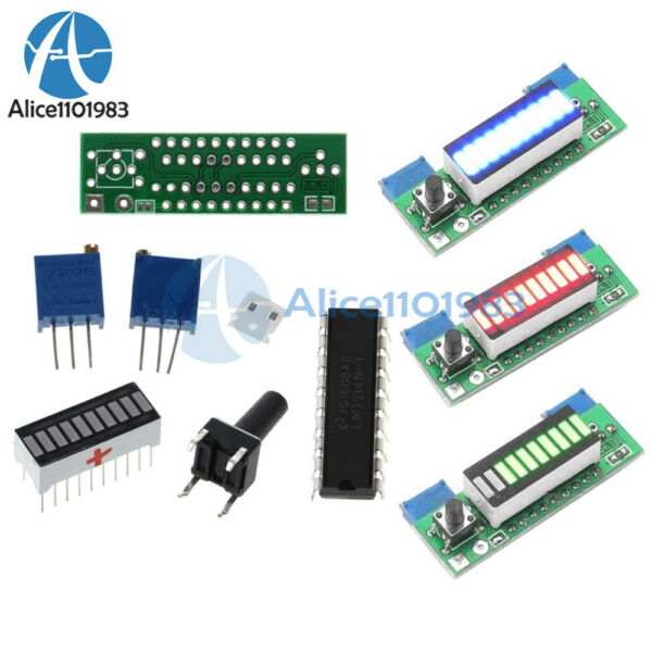 LM3914 3.7V Lithium Battery Capacity Indicator Red/Geen/Blue LED Display Module
