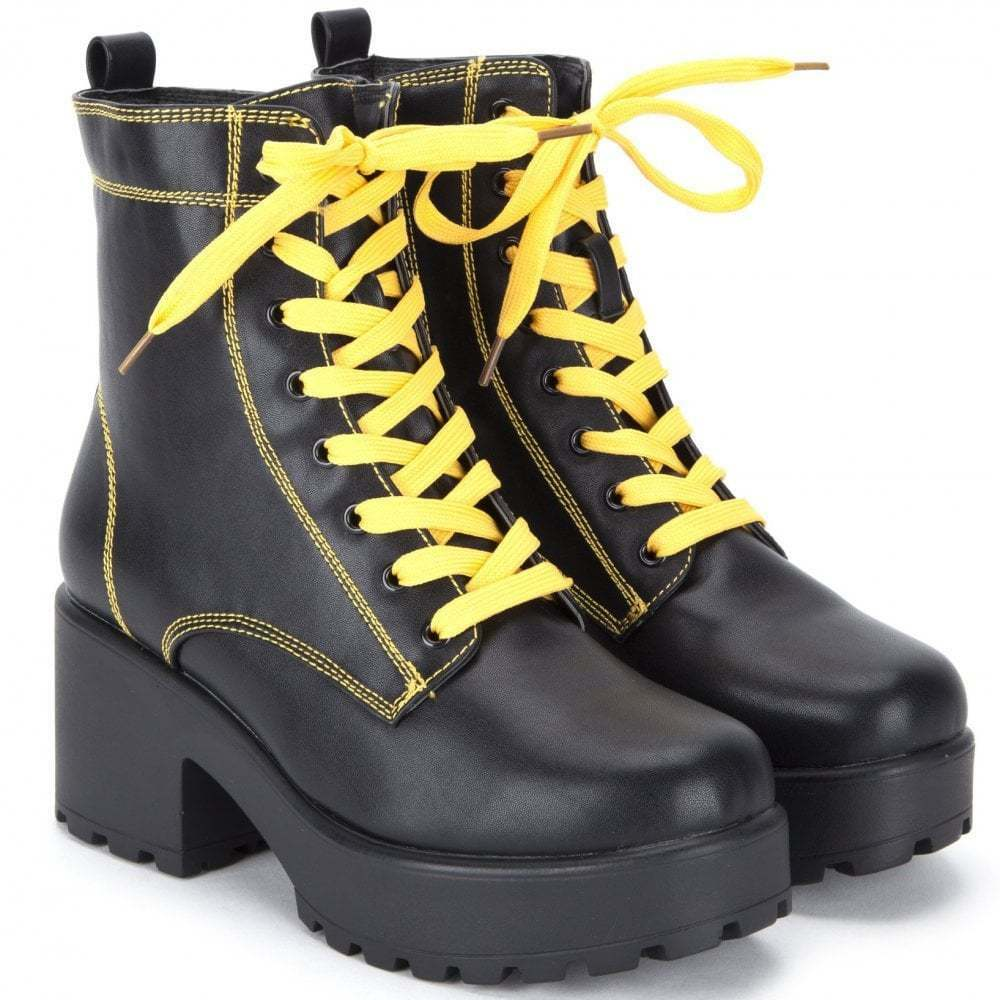 a248ac6bee4 Details about BLACK YELLOW CHUNKY BLOCK HEEL LACE UP BIKER COMBAT PLATFORM  ANKLE BOOTS SHOES