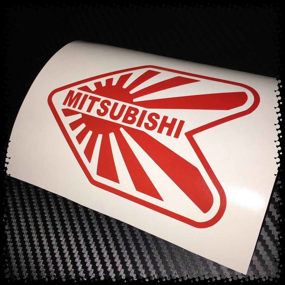 Details about red mitsubishi wakaba jdm car sticker decal drift import jap rising sun