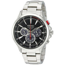 4f9aaba8 Seiko Men's Analog Solar Chronograph 100m Stainless Steel Watch SSC493
