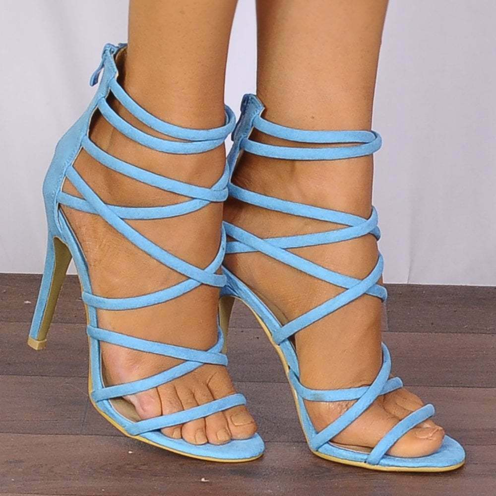 35d817258 Details about Ladies Turquoise Blue Barely There Peep Toes Strappy Sandals  High Heels Shoes Sz