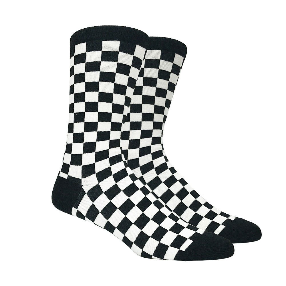 378521c70b59 Details about Mens Black and White Checkered Socks Checkerboard Checker  Classic - 1 Pair