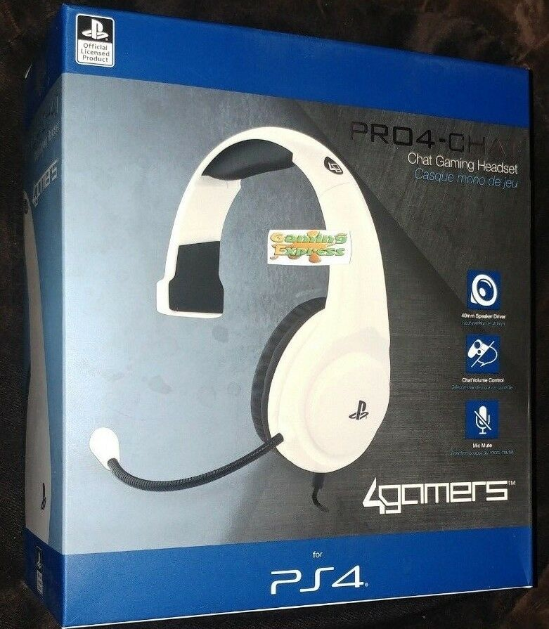 Official Pro4 Mono White Chat Gaming Headset Playstation 4 Ps4 New