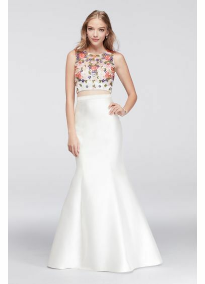83331d2b Details about NEW Xscape Floral Crop Top and Mermaid Skirt Two-Piece Dress  Size 6 $278
