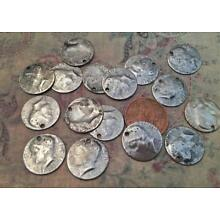 Vintage 16mm Aged  Silver Tone Metal Profile Head Coin Charms 14