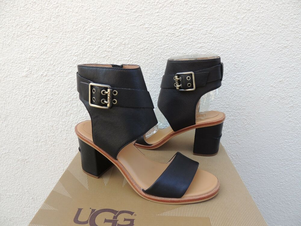c6183a863be84 UGG CLAUDETTE BLACK LEATHER ANKLE WRAP BOOT HEELS